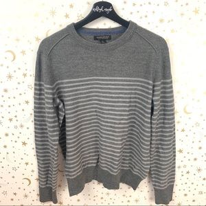 Banana Republic | Gray Striped Merino Wool Sweater